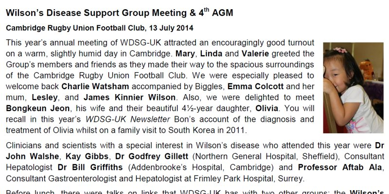 Wilsons Disease Support Group - UK -  Annual Meeting & 4th AGM - 13 July 2014