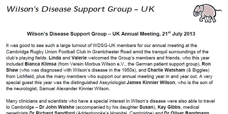 Wilsons Disease Support Group - UK - Annual Meeting - 21 July 2013