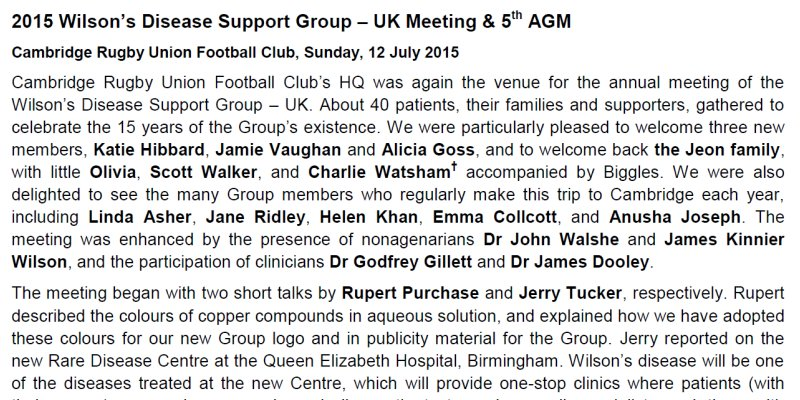 Wilsons Disease Support Group - UK - Annual Meeting & 5th AGM - 12 July 2015