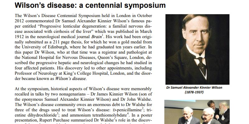 Wilson's Disease - Centennial Symposium 2012 (Review by Rupert Purchase)