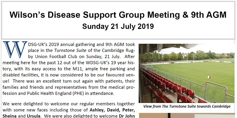 Wilsons Disease Support Group UK - Annual Meeting & 9th AGM - 15 July 2019